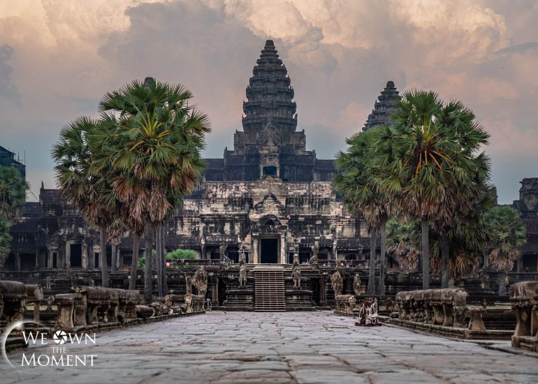 Front and center view of an empty Angkor Wat Temple during sunset in Cambodia.